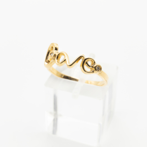 Bague Love - Or jaune 750 et 2 diamants - Côté